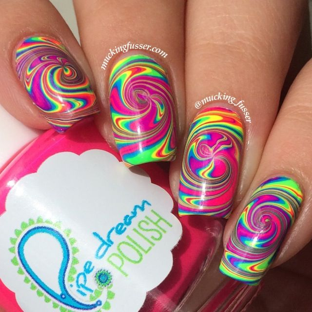 Rainbow Spiral Water Marble Featuring Piep Dream Polish A night in Vegas collection