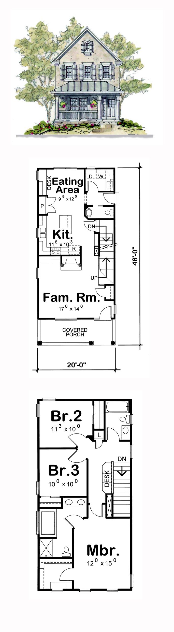 Narrow Lot House Plan 66630 | Total Living Area: 1575 sq. ft., 3 bedrooms and 2.5 bathrooms