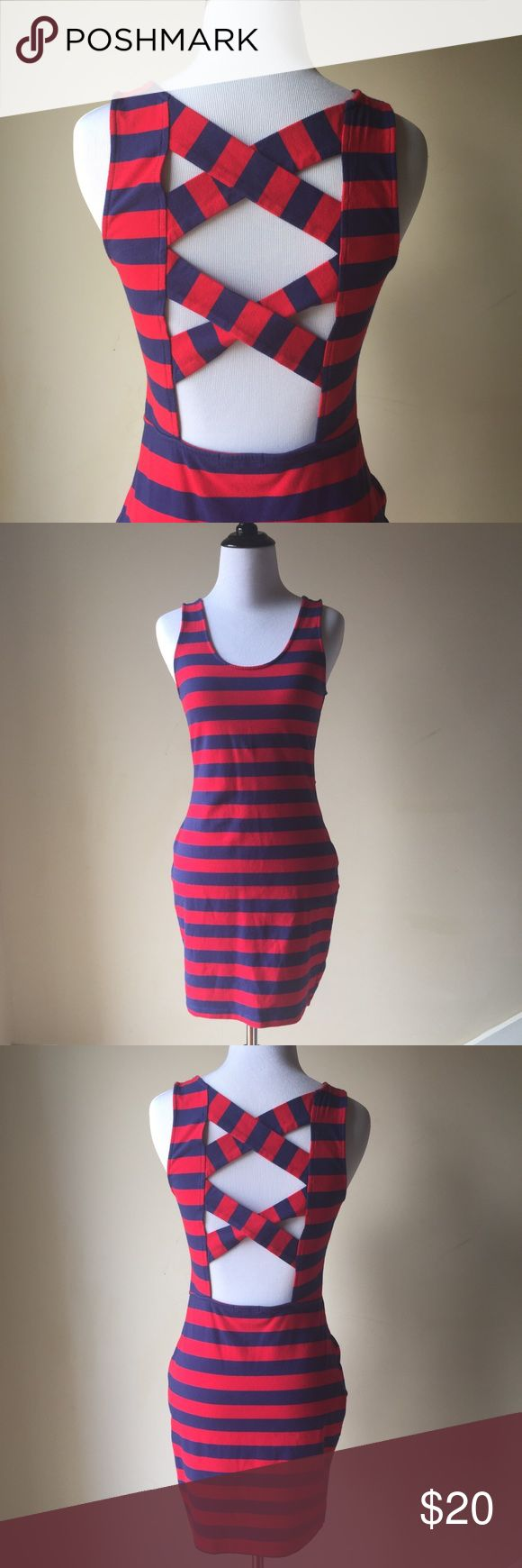 Charlotte Russe Red & Navy Striped Bodycon Dress Criss-Cross back. Charlotte Russe Dresses Mini