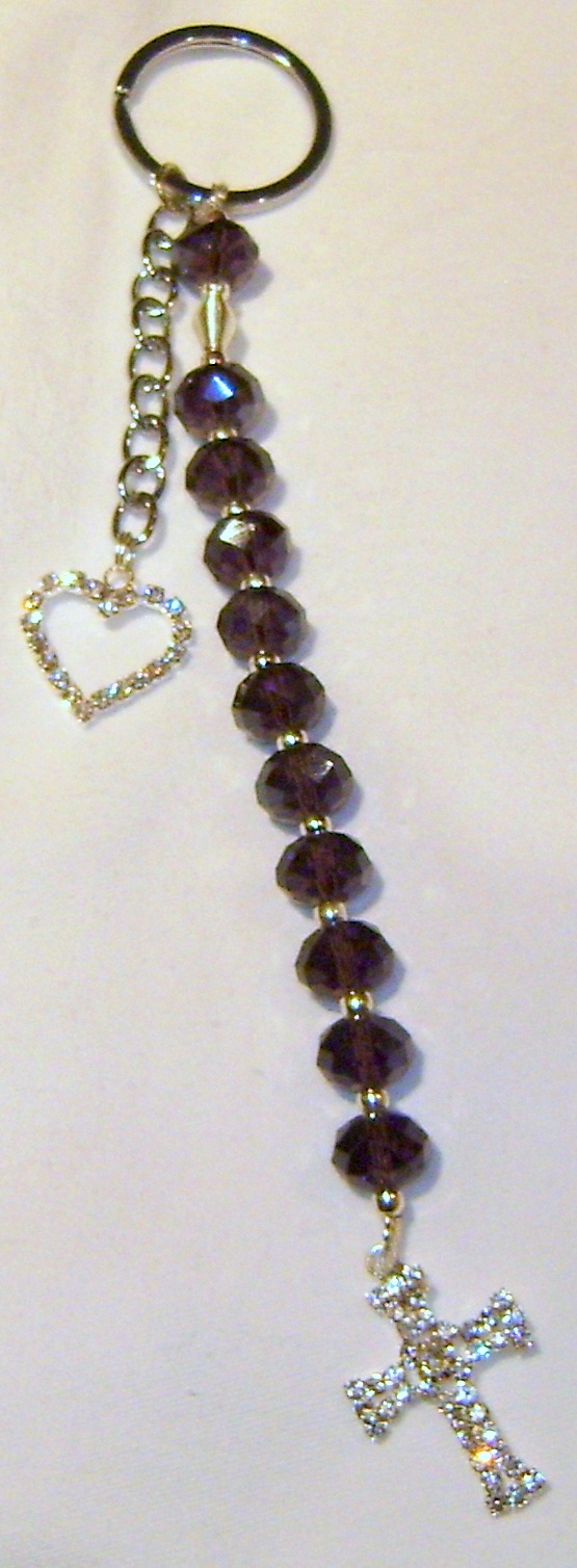 Rosary Keyring I made. One decade of the Rosary. Crystal faceted glass beads