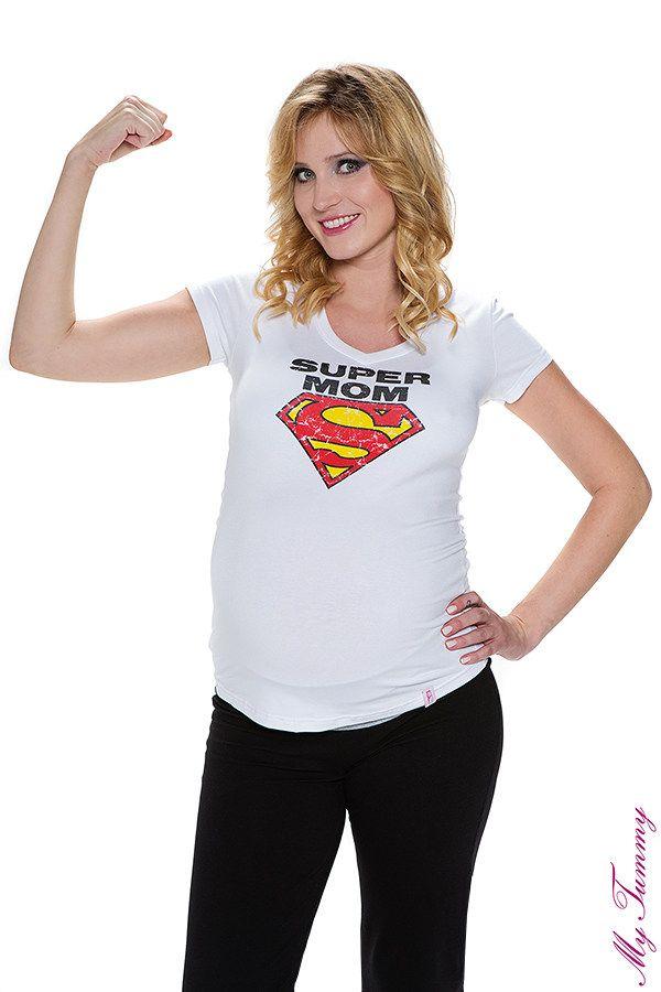 T-shirt ciążowy Super Mom