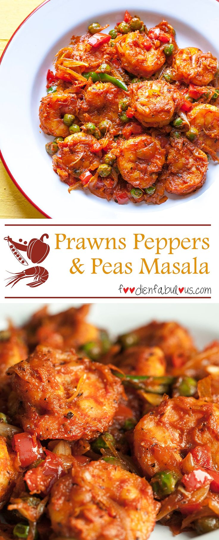 Easy recipe for Indian-style Prawns masala with red bell peppers (you can easily replace with green capsicum) and fresh green peas. Tastes great with rotis (Indian flat-breads) or even as a accompaniment to a simple home-cooked rice-dal dinner.