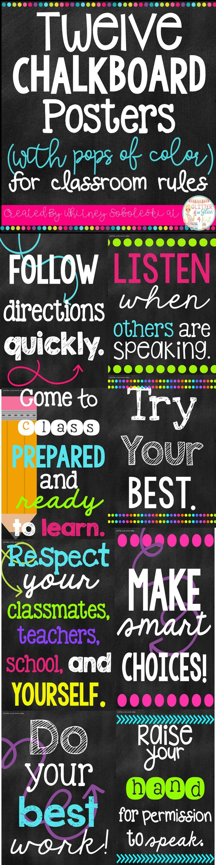 Poster design rules - Twelve Chalkboard With Pops Of Color Posters For Classroom Rules