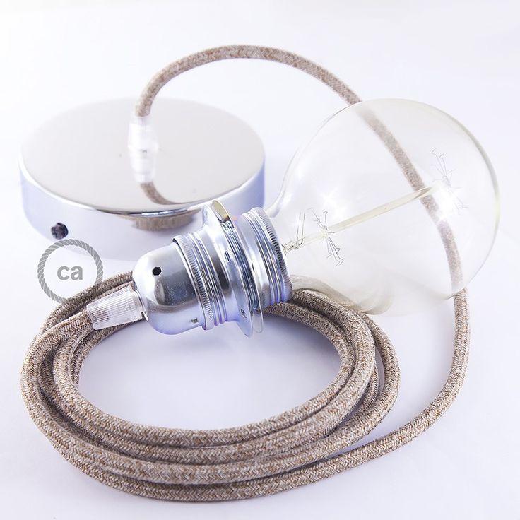 Lampe suspension pour Abat-jour câble textile Paillettes et Lin Naturel Marron RS82