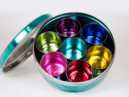 Enamel Treasure Chest, or storage box with 7 small cups inside turquoise   Tiffinware.com
