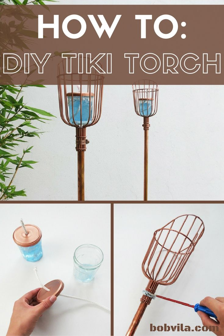 Enjoy summer nights free from the mosquitoes by staking a few tiki torches around your backyard party. 1. Create a hole in the top of a recycled jar. 2. Hack a fruit picker basket into a torch holder by snipping the top wires off and attaching it to a copper pipe. 3. Fill the jar with citronella fuel and thread a cotton wick through the hole in the jar top. 4. Stake your torch and get ready to light up the night. Full tutorial at the link.