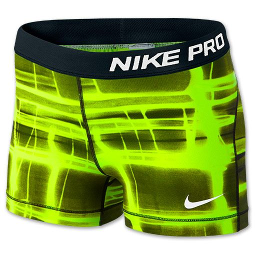 Women's Nike 3 Inch Pro Core Compression Printed Shorts | FinishLine.com | Volt/White