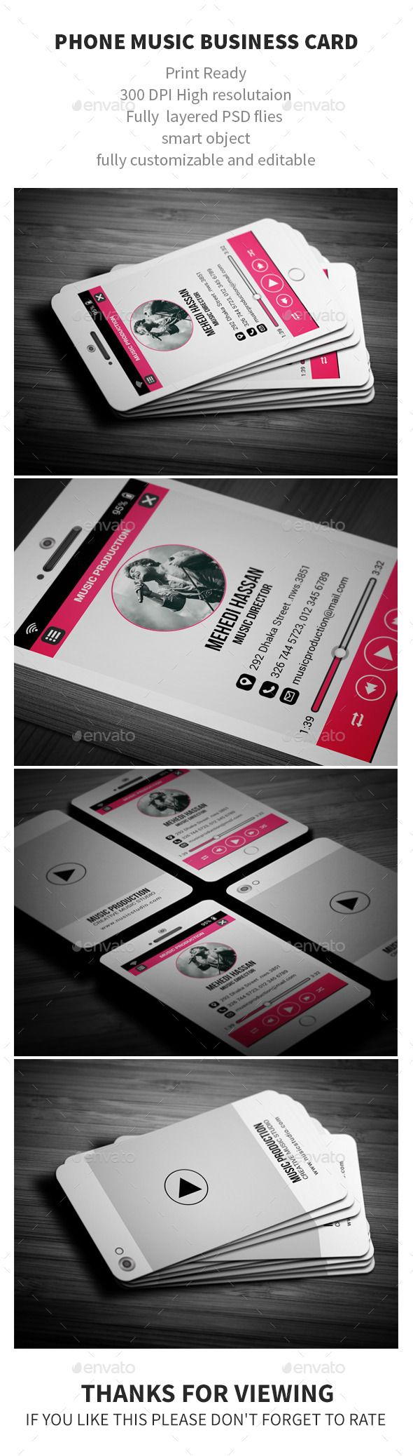 Phone Music Business Card Template #design Download: http://graphicriver.net/item/phone-music-business-card/12245401?ref=ksioks