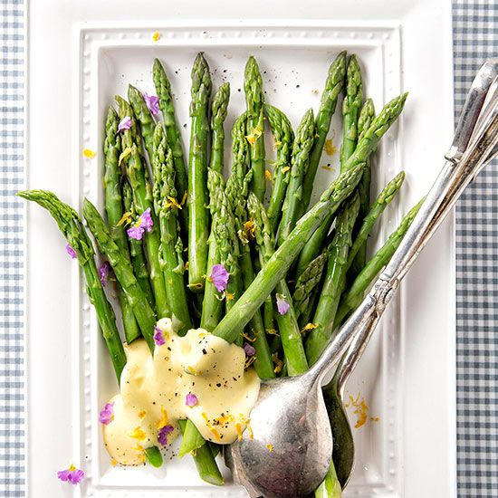 We've draped tender asparagus with a velvety Meyer lemon sauce in this sophisticated spring side dish: http://www.bhg.com/recipes/from-better-homes-and-gardens/april-2014-recipes/?socsrc=bhgpin040614asparaguswithlemonsauce&page=7