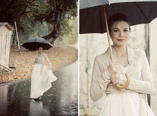 Even Rain Can Make For A Beautiful Bridal Picture Bride In Sweater With Umbrella Portrait