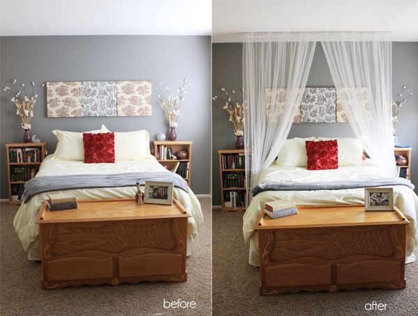 Make curtain bed using only wooden dowels, sheer fabric, and thumb tacks. What Camilla did was insert the dowels through the fabric casing and then tacked everything to their bedroom ceiling.