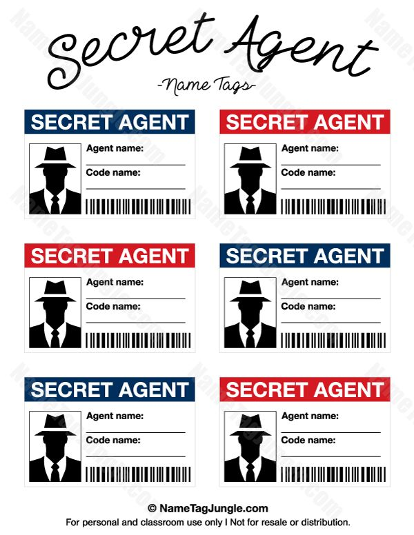 Free printable undercover agent identify tags. These can be nice for a spy or secret …