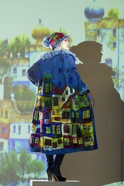 """Пальто """"Вечерний Хундертвассер"""" в джинсовом цвете - рисунок,Анна Лесникова"""