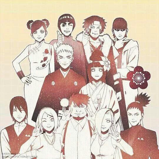 Naruto, Hinata, Temari, Sakura, Rock li, Shino, Ino, Shikamaru y Chunchi