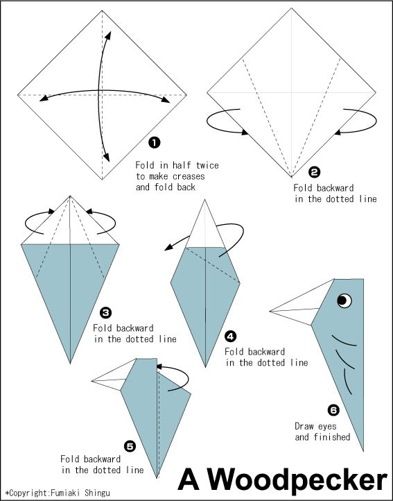 Origami Woodpecker