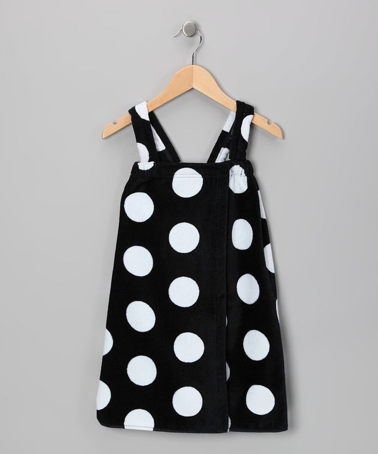 Look at this Terry Town Black Polka Dot Terry Velour Wrap Cover-Up - Girls on #zulily today!