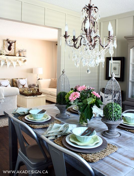 Cottage Farmhouse Dining Room - love the eclectic style