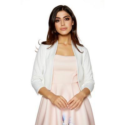 Quiz Cream cropped 3/4 sleeve jacket | Debenhams