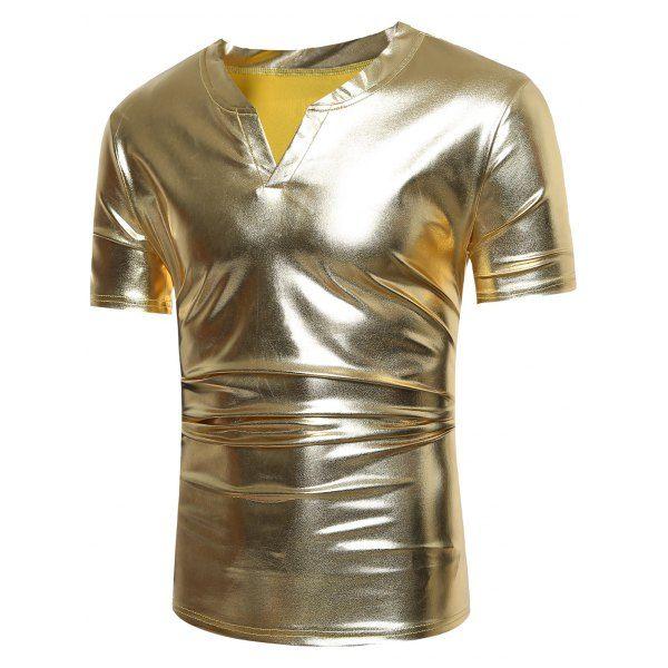 $9.58 Notch Neck Metallic Tee - Golden - Xl