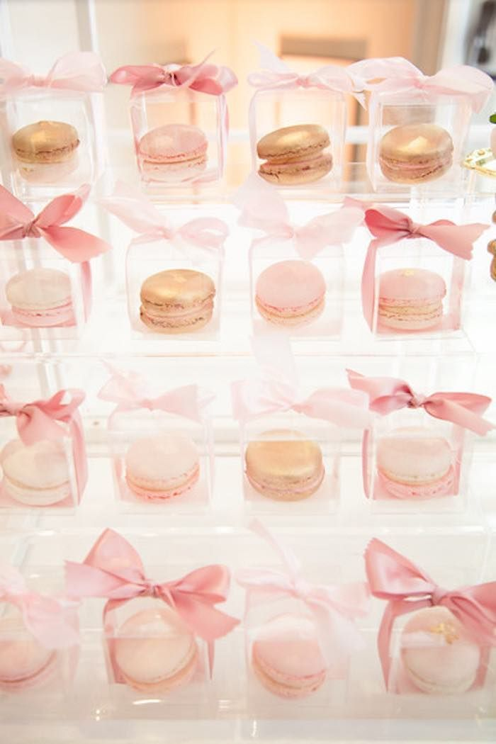 "Macarons in boxes from Pink ""Tutu Cute"" themed Ballerina Baby Shower from Kara's Party Ideas. See more at karaspartyideas.com!"