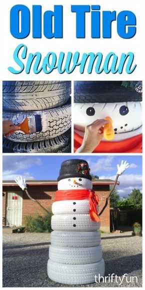 This is a guide about making a tire snowman. Old tires can be repurposed to make a fun snowman for an outdoor holiday decoration.