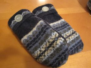 sweater to hat and mittens refashion tutorial.  This lady is a genius.  Lame sweater = Cool mittens.