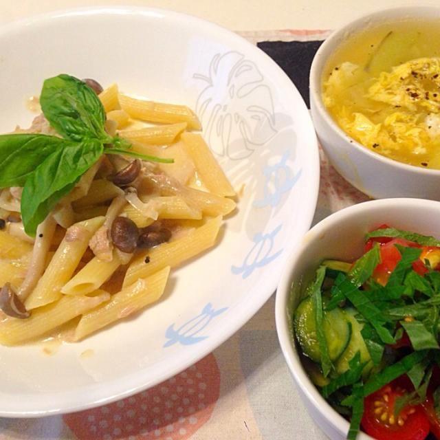 ・キャベツとトマトと大葉のサラダ ・キャベツの中華スープ - 18件のもぐもぐ - しめじとツナのペンネセット by coccotomo