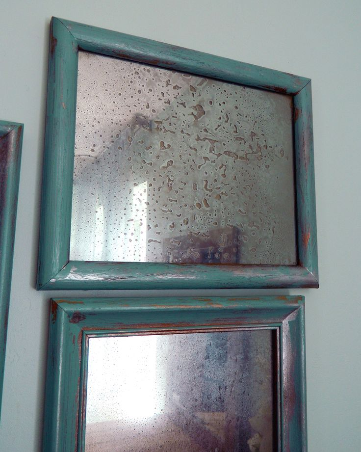 DIY Faux Antiqued Mirror (No Chemicals) Thrift store picture frames with glass. The glass is key! If you can find some that are chipped or cracked even better, that will add to the vintage feel. You will also need a spray bottle with one part vinegar to 3 parts water. And lastly you will need the miracle product KRYLON LOOKING GLASS SPRAY PAINT.