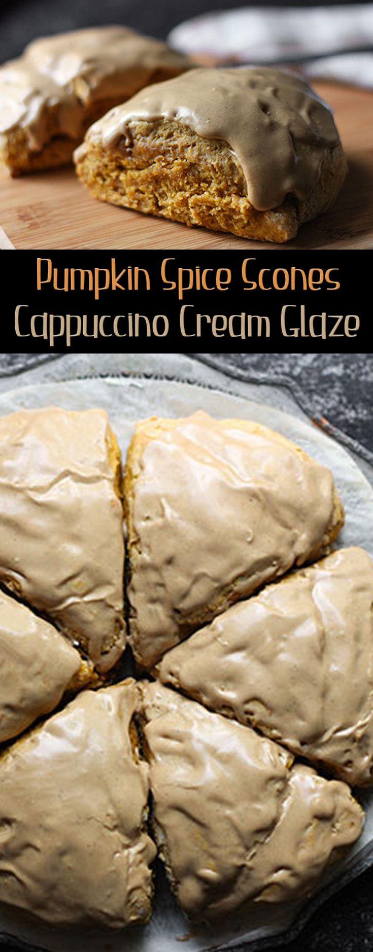Pumpkin Spice Scones Cappuccino Cream Glaze