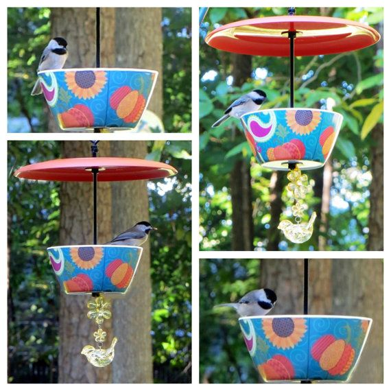 Covered Hanging Bird Feeder Pumpkins and by EllensClayCreations