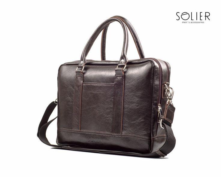 Elegancka skórzana męska torba na ramię Solier S02 Brązowy | Torby męskie \ Torby na laptopa Torby męskie \ Torby na ramię | Solier sklep internetowy - męskie torby na ramię, skórzane aktówki, torby na laptop teczki, akcesoria męskie.
