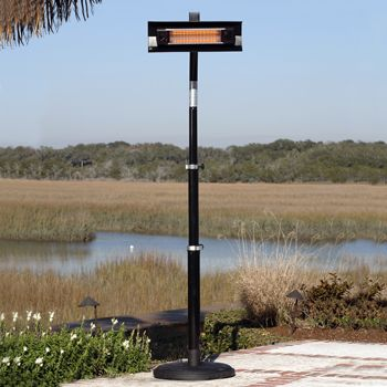 SunTastic Black Powder Coated Telescoping Pole Mounted Infrared Patio Heater