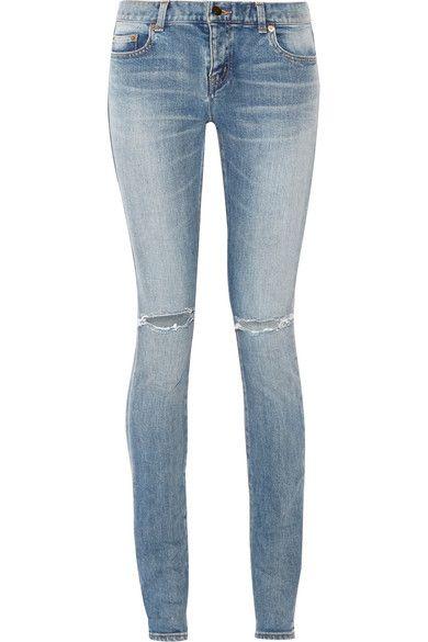 Saint Laurent | Distressed mid-rise skinny jeans | NET-A-PORTER.COM