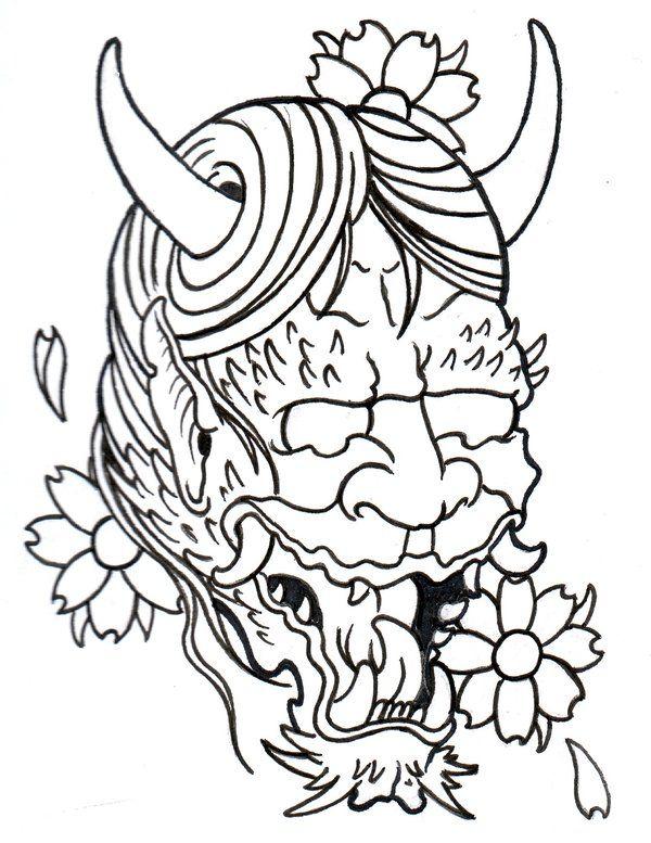 Japanese Demon Outline by vikingtattoo.deviantart.com on @deviantART