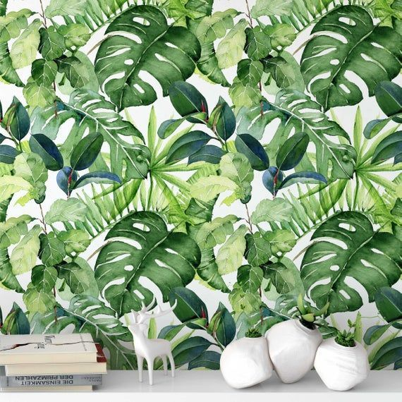 Tropical Rainforest Foliage Removable Self Adhesive Wallpaper Peel And Stick Wallpaper A111 Product Featur Peel And Stick Wallpaper Wallpaper Old Wallpaper