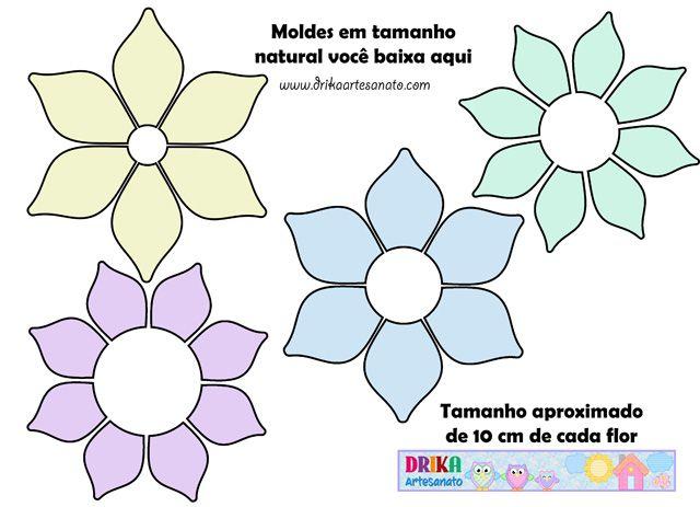 Moldes de flores de EVA, patch aplique ou feltro! | Molde, Ems and