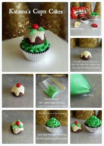 'Xmas pudding cupcake tutorial'