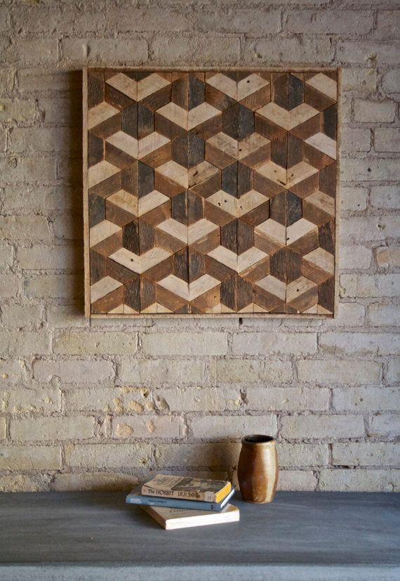 Reclaimed Wood Wall Art Decor Lath Pattern by EleventyOneStudio                                                                                                                                                                                 Mais