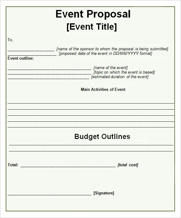 Event Propsal Template  Proposal For Event