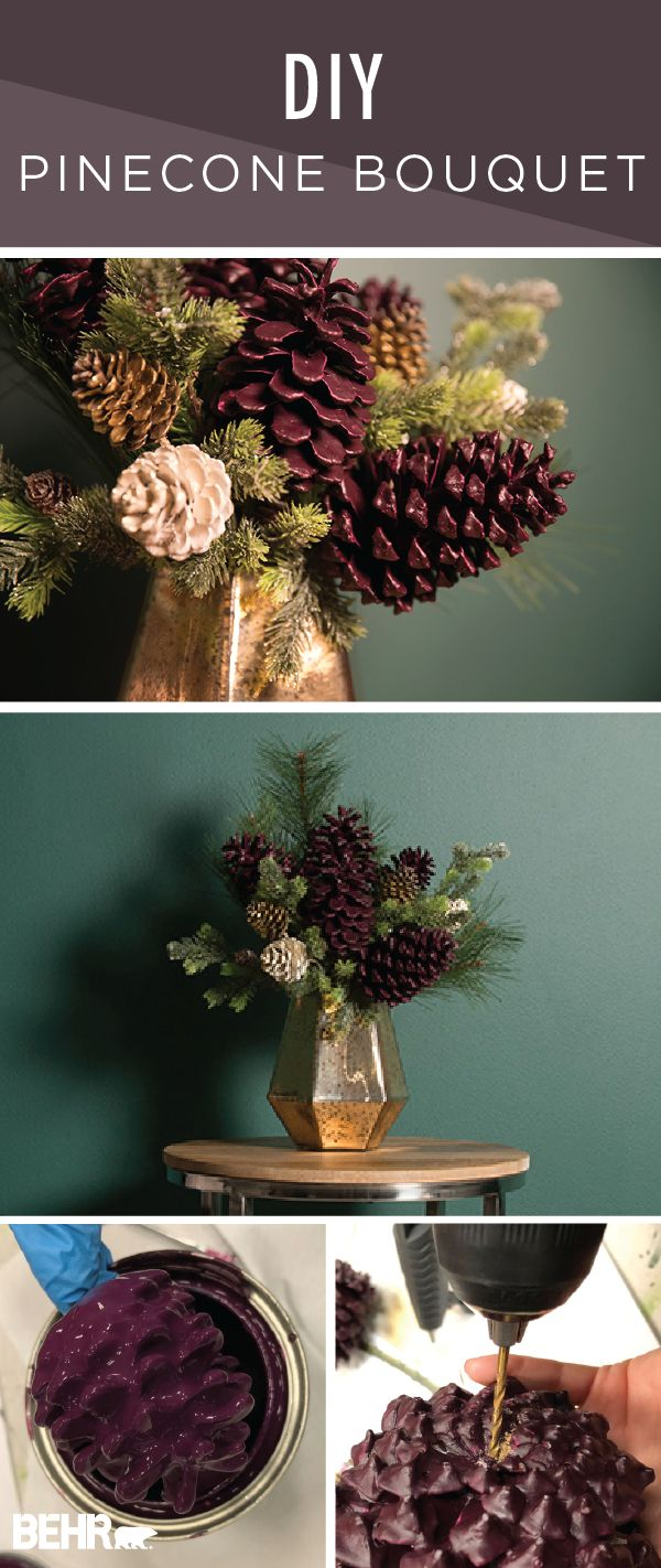 This DIY pinecone bouquet is one creative holiday craft project that you have to try! This easy tutorial uses paint-dipped pinecones to create a rustic tabletop decoration. Combine the moody purple hue of Nocturne Shade by BEHR Paint with gold glitter accents to recreate this vintage-inspired look.