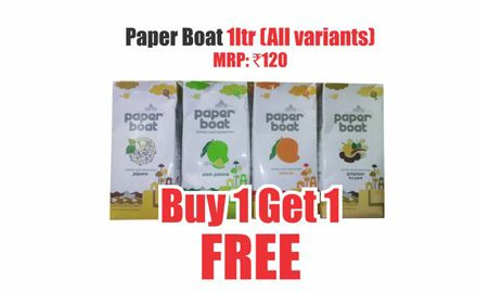 Buy 1 get 1 free offer on Paper boat 1 ltr (all variants). Valid at all Heritage India Outlets.