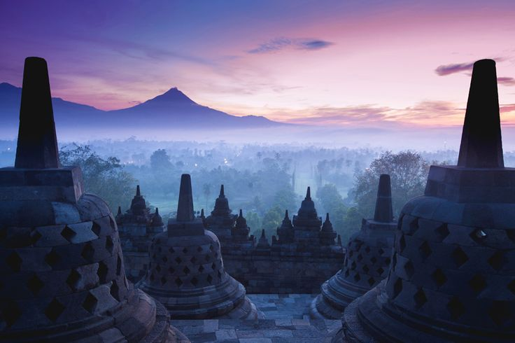 View from atop the Borobudur Temple at sunrise