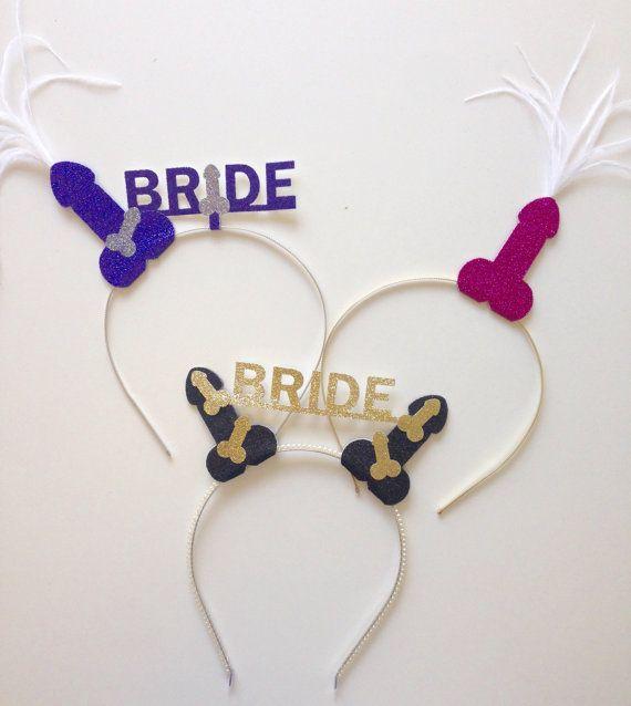 Bachelorette Penis Crown Headband Glitter Custom by EarlesFolly. Bachelorette ideas for bride, have her wear a custom penis tiara!