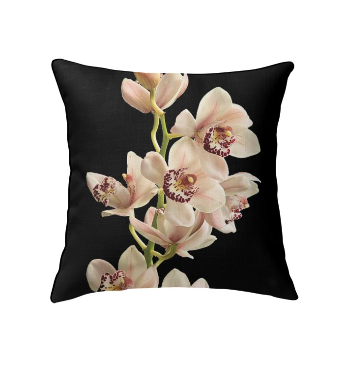 Elegant Pink Cymbidium Orchid Throw Pillow  Cymbidium Orchid Pillow  Orchid: Throw Pillows  Delphinium & Orchid Flower Arrangements You'll Love  Buy Now=> https://selfshoppy.com/cymbidium-orchid-flower-black-throw-pillow