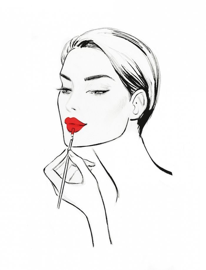 Beautiful Woman Face Apply Red Lipstick Image To Trace Apply