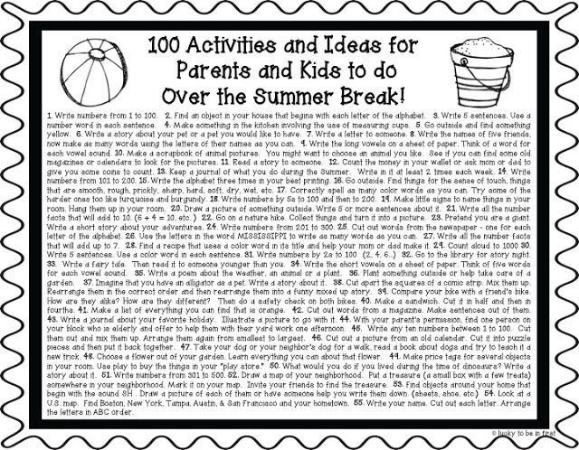 Prevent Summer Slide with this FREEBIE: 100 Activities and Ideas for Parents and Kids to Do this summer!