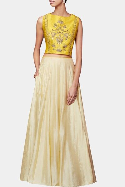 Anita Dongre - Yellow gota patti embroidered skirt set