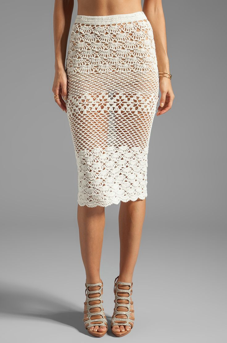 Spell & The Gypsy Collective Coconut Crochet Skirt em Branco