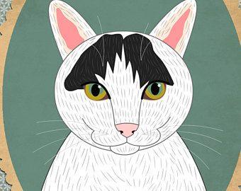 Aangepaste kat portret. Illustratie van de kat. Kat memorial. Geschenk voor kattenliefhebbers. Huisdier portretten.