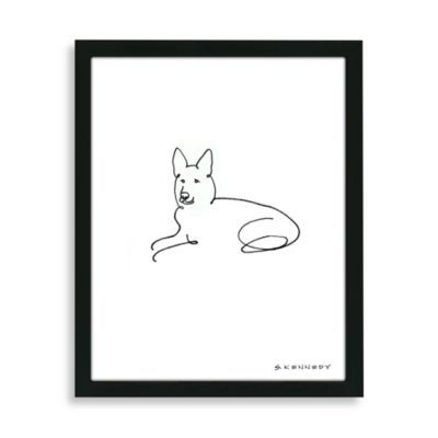 German Shepherd Framed Line Drawing - BedBathandBeyond.com